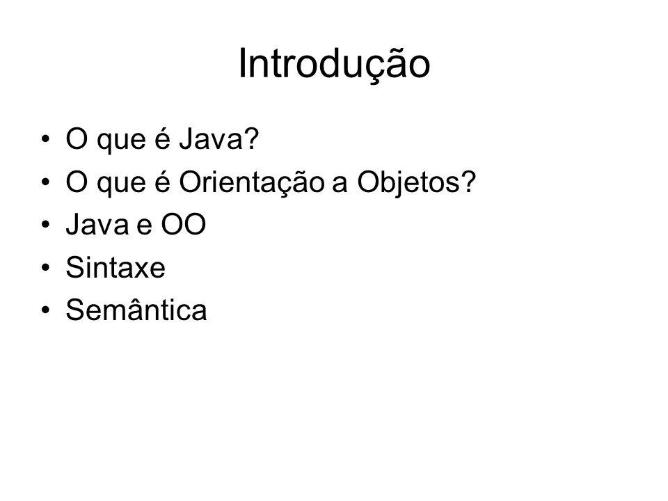 Introdução O que é Java O que é Orientação a Objetos Java e OO