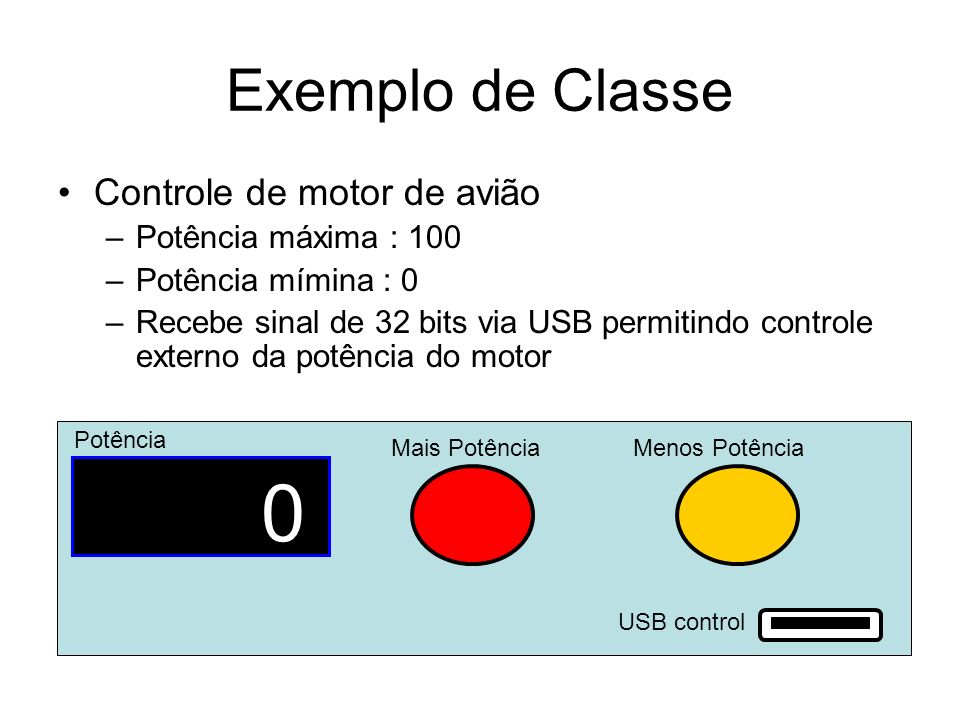 Exemplo de Classe Controle de motor de avião Potência máxima : 100