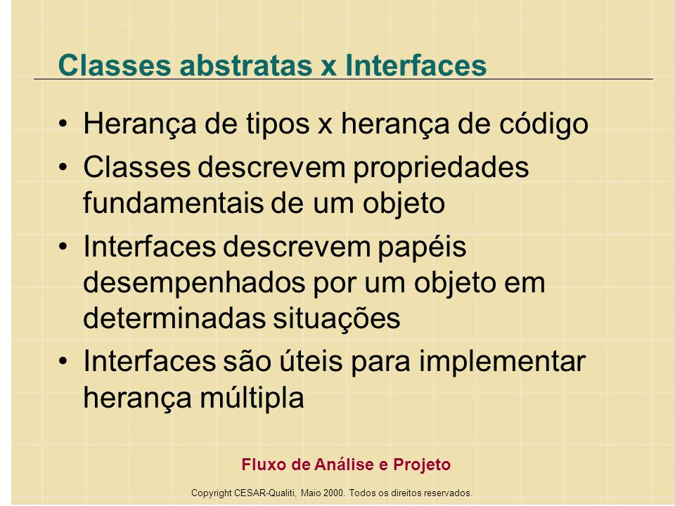 Classes abstratas x Interfaces