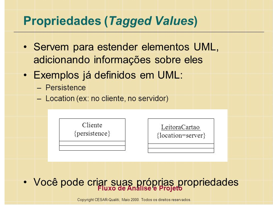 Propriedades (Tagged Values)