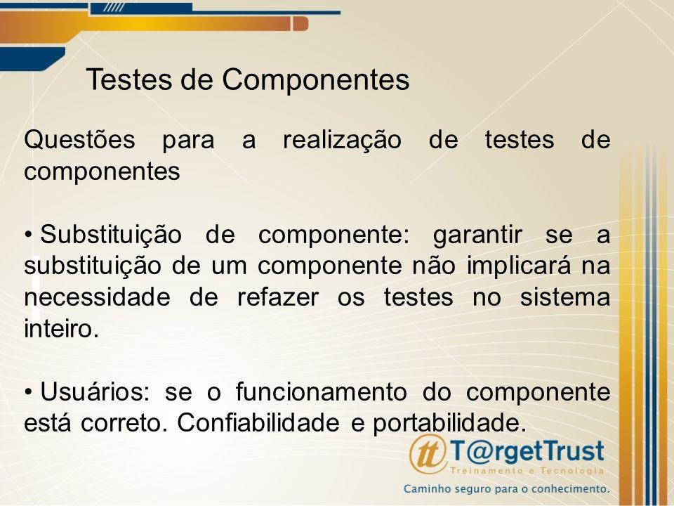 Testes de Componentes Questões para a realização de testes de componentes.