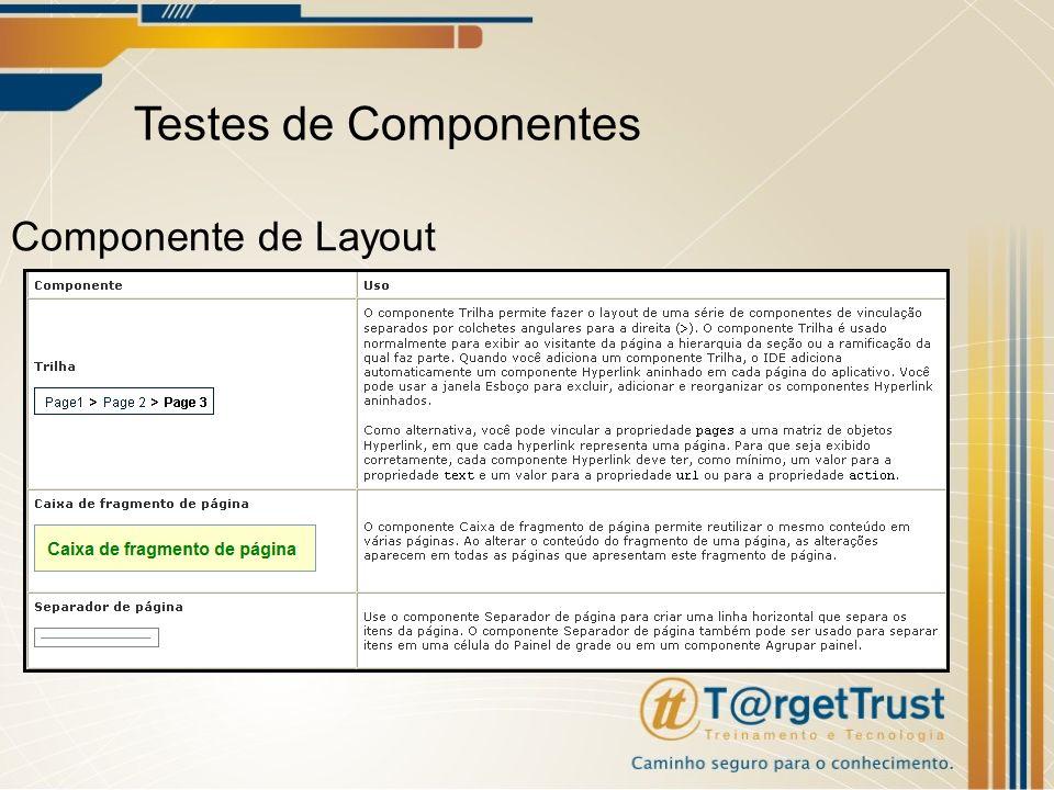Testes de Componentes Componente de Layout