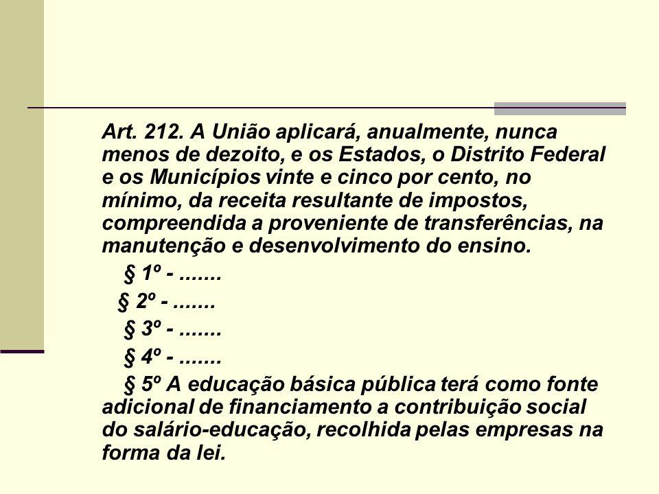 Art. 212. A União aplicará, anualmente, nunca menos de dezoito, e os Estados, o Distrito Federal e os Municípios vinte e cinco por cento, no mínimo, da receita resultante de impostos, compreendida a proveniente de transferências, na manutenção e desenvolvimento do ensino.