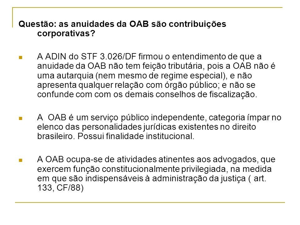 Questão: as anuidades da OAB são contribuições corporativas