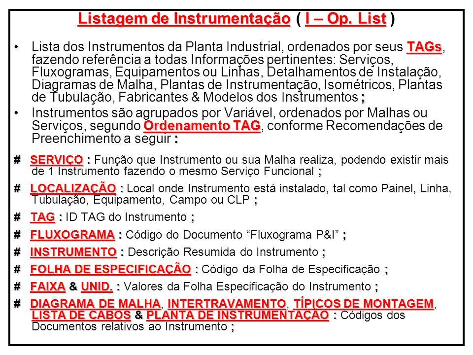 Listagem de Instrumentação ( I – Op. List )