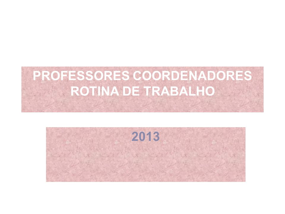 PROFESSORES COORDENADORES ROTINA DE TRABALHO