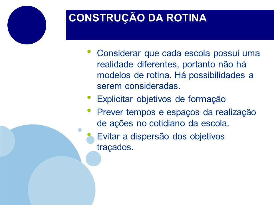 CONSTRUÇÃO DA ROTINA