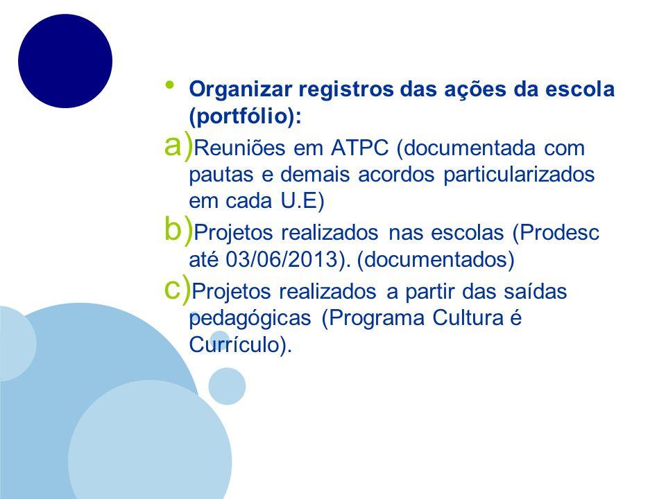 Organizar registros das ações da escola (portfólio):