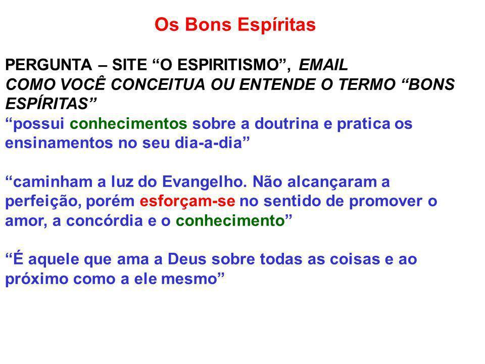 Os Bons Espíritas PERGUNTA – SITE O ESPIRITISMO , EMAIL