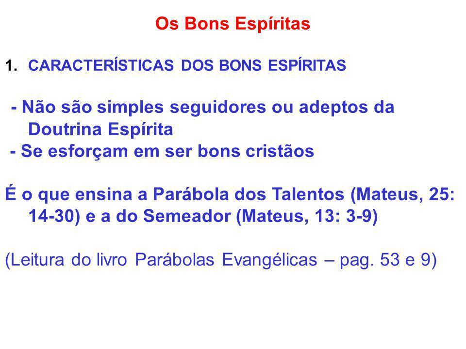 - Não são simples seguidores ou adeptos da Doutrina Espírita