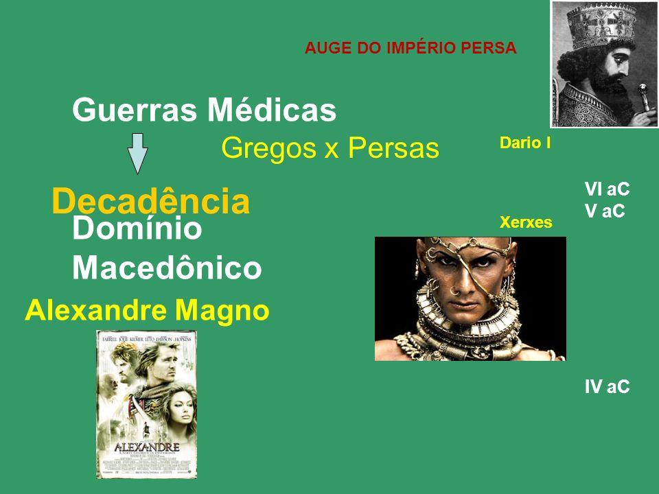 Decadência Guerras Médicas Domínio Macedônico Gregos x Persas