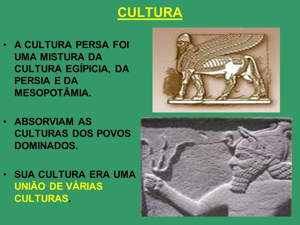 CULTURAA CULTURA PERSA FOI UMA MISTURA DA CULTURA EGÍPICIA, DA PERSIA E DA MESOPOTÂMIA. ABSORVIAM AS CULTURAS DOS POVOS DOMINADOS.