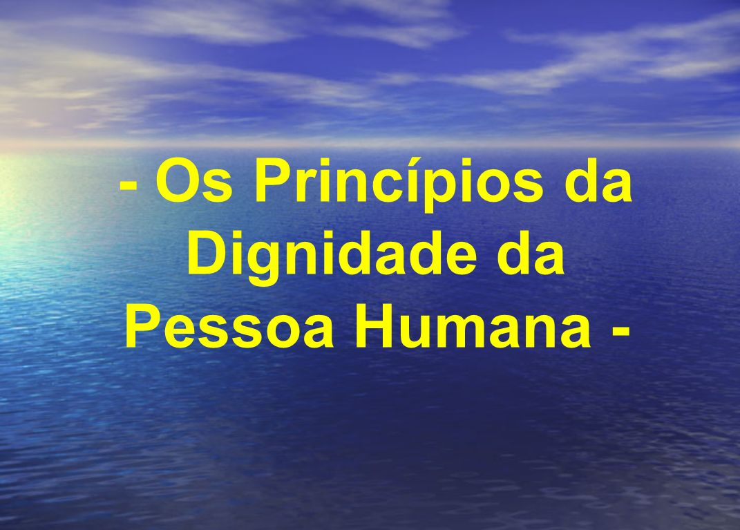 - Os Princípios da Dignidade da