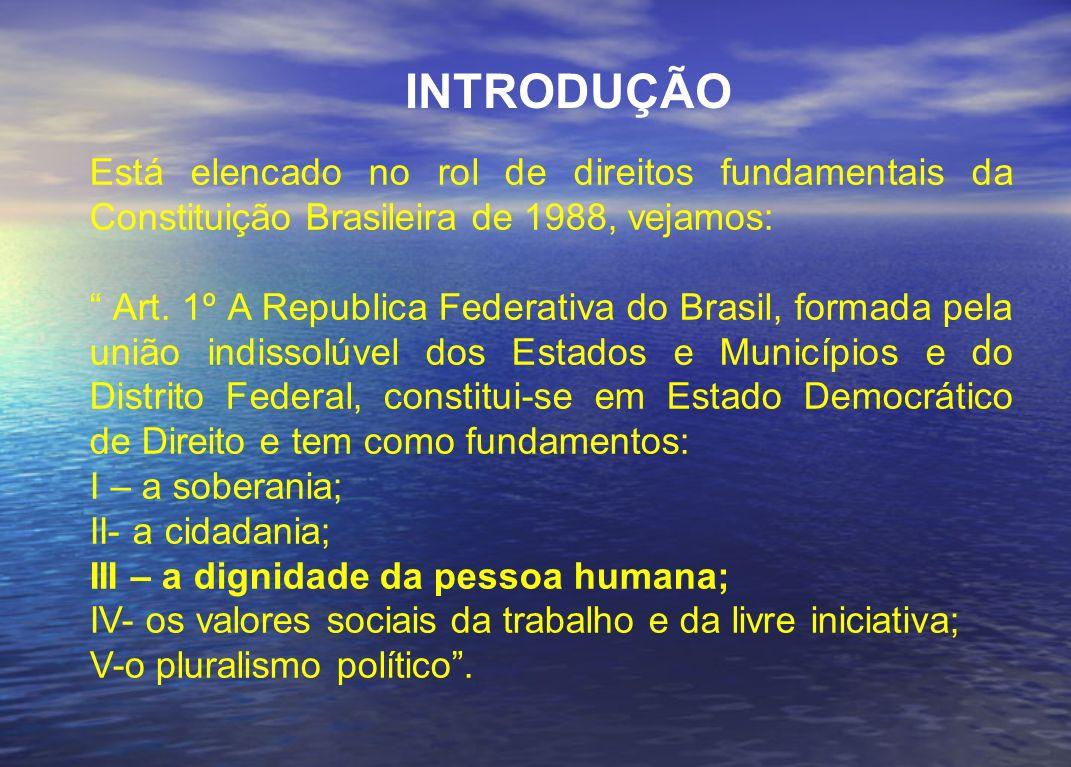 INTRODUÇÃO Está elencado no rol de direitos fundamentais da Constituição Brasileira de 1988, vejamos: