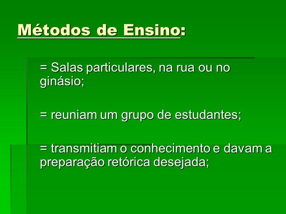 Métodos de Ensino: = Salas particulares, na rua ou no ginásio;