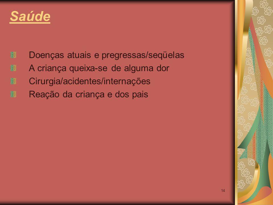 Saúde Doenças atuais e pregressas/seqüelas