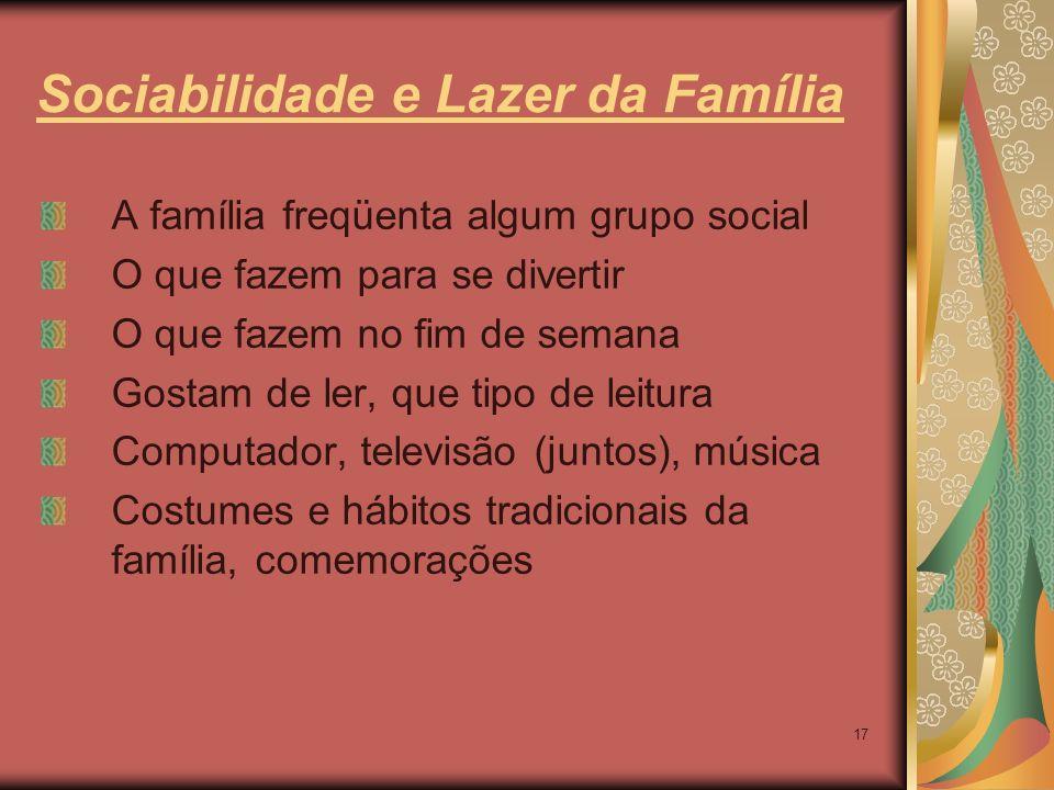 Sociabilidade e Lazer da Família