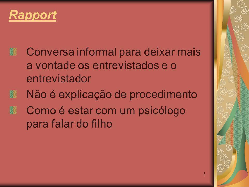 Rapport Conversa informal para deixar mais a vontade os entrevistados e o entrevistador. Não é explicação de procedimento.
