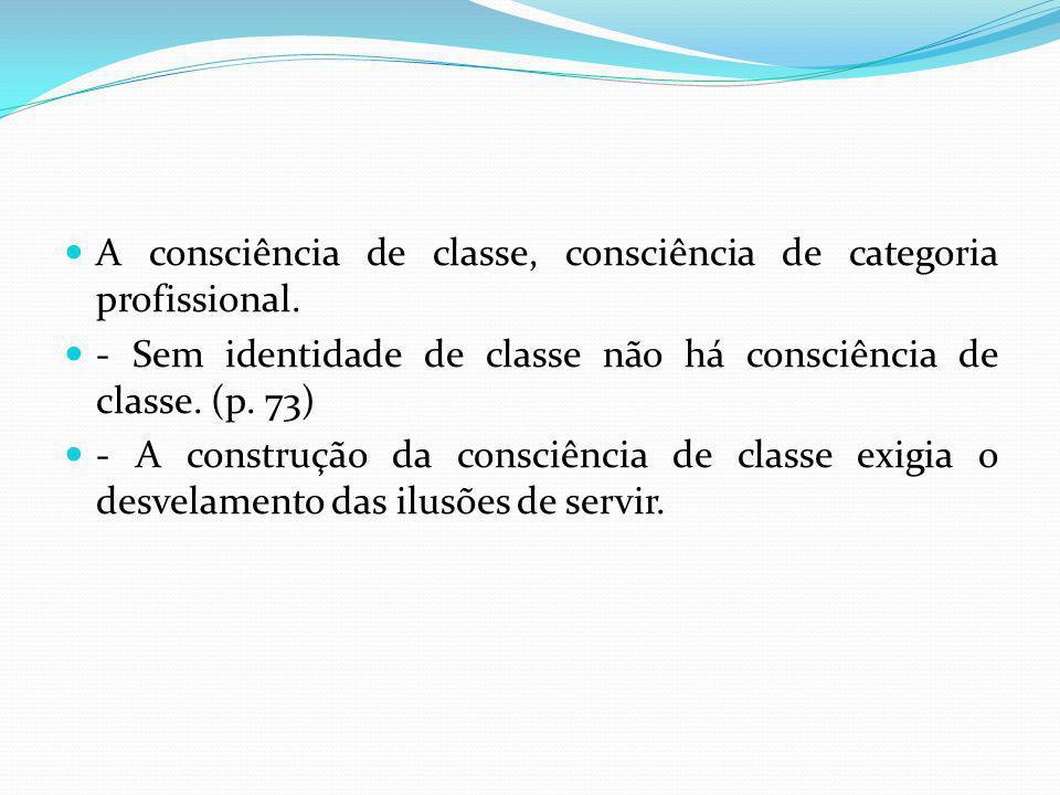 A consciência de classe, consciência de categoria profissional.