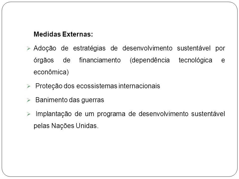 Medidas Externas: Adoção de estratégias de desenvolvimento sustentável por órgãos de financiamento (dependência tecnológica e econômica)