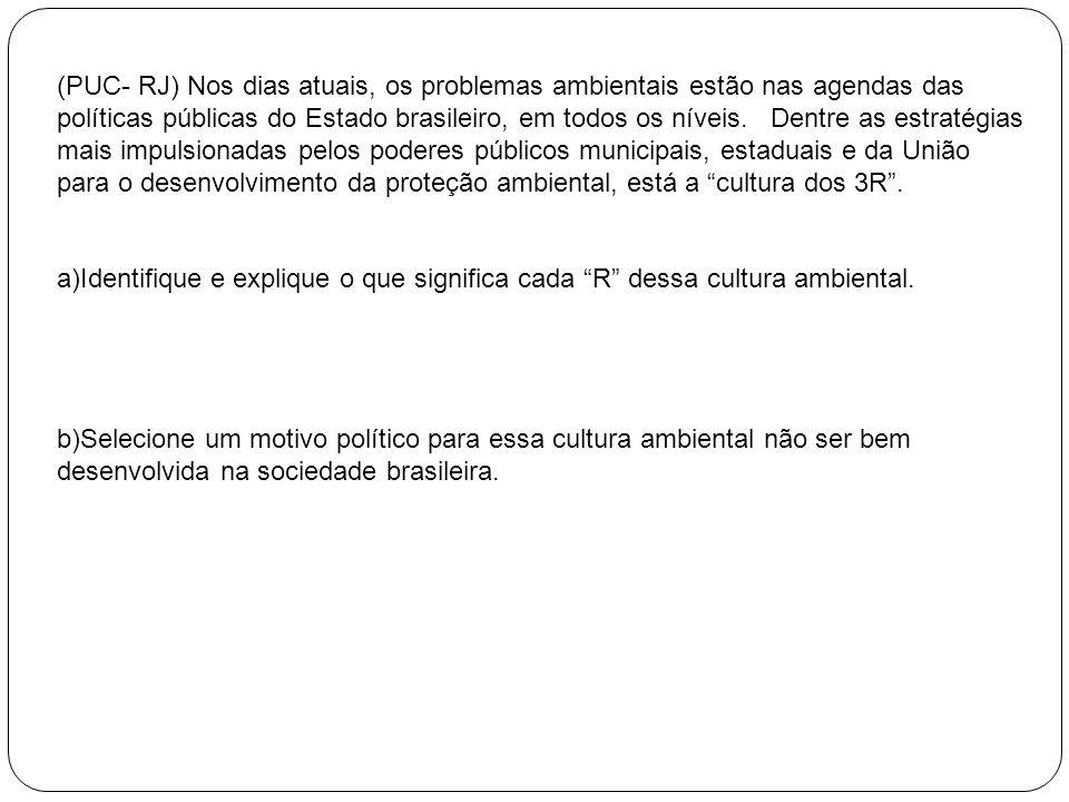 (PUC- RJ) Nos dias atuais, os problemas ambientais estão nas agendas das políticas públicas do Estado brasileiro, em todos os níveis. Dentre as estratégias mais impulsionadas pelos poderes públicos municipais, estaduais e da União para o desenvolvimento da proteção ambiental, está a cultura dos 3R .