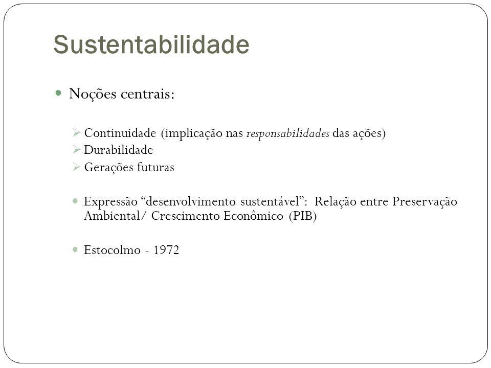 Sustentabilidade Noções centrais: