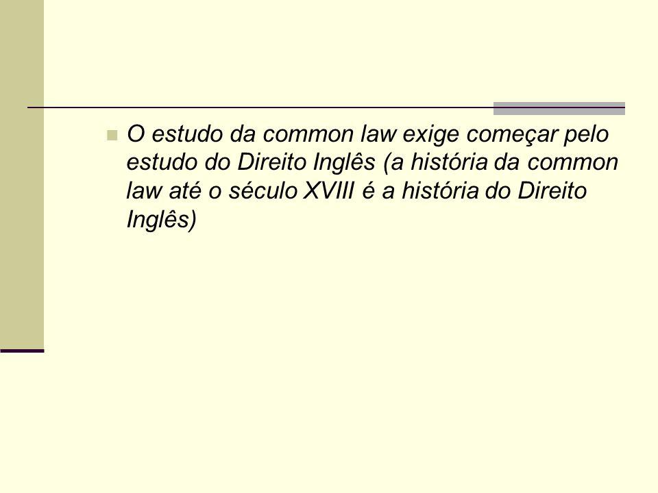 O estudo da common law exige começar pelo estudo do Direito Inglês (a história da common law até o século XVIII é a história do Direito Inglês)