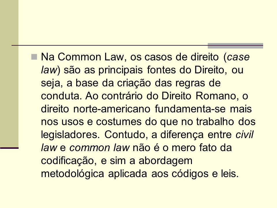 Na Common Law, os casos de direito (case law) são as principais fontes do Direito, ou seja, a base da criação das regras de conduta.
