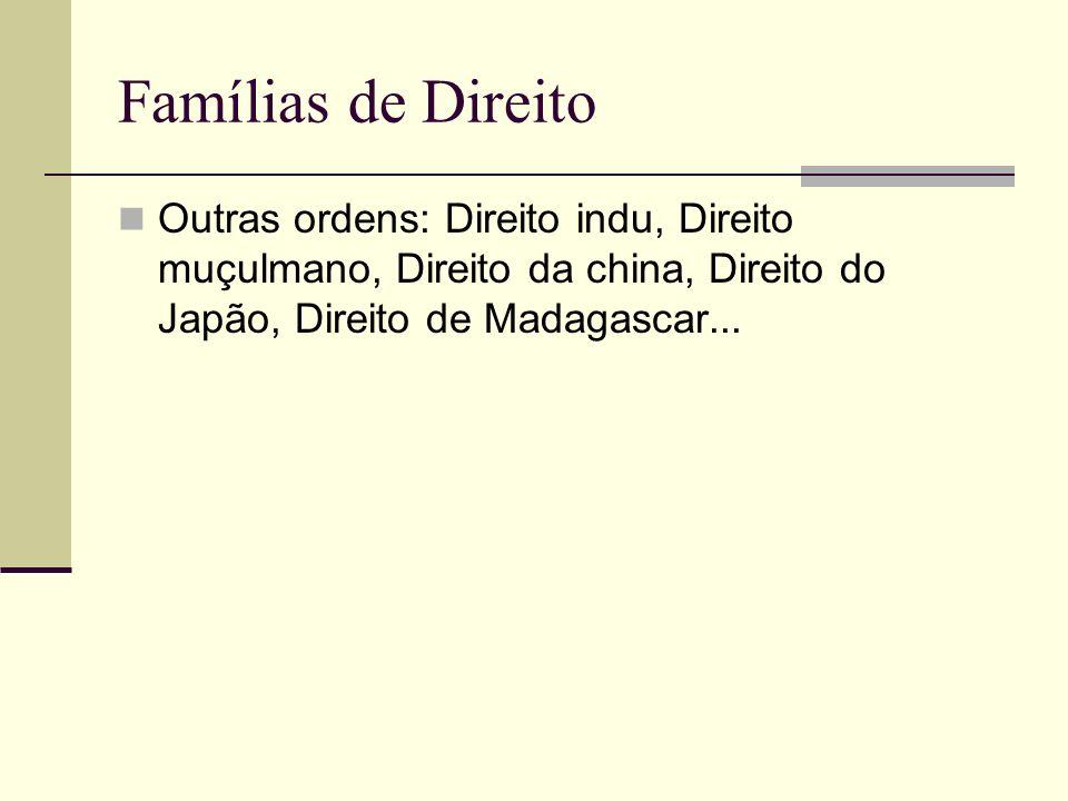 Famílias de DireitoOutras ordens: Direito indu, Direito muçulmano, Direito da china, Direito do Japão, Direito de Madagascar...