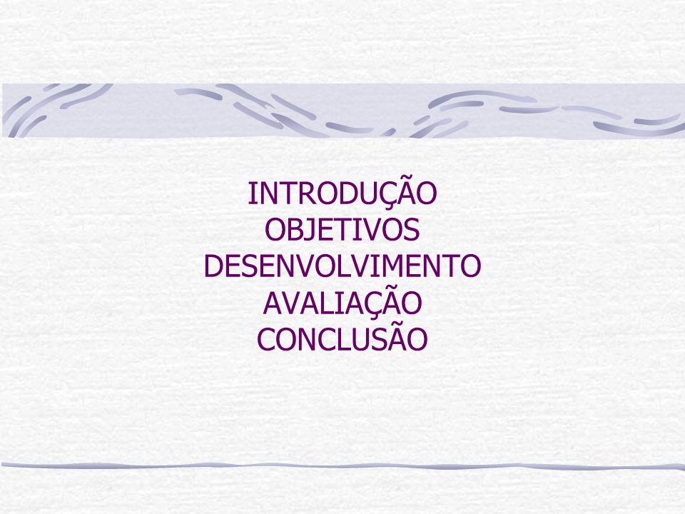 INTRODUÇÃO OBJETIVOS DESENVOLVIMENTO AVALIAÇÃO CONCLUSÃO