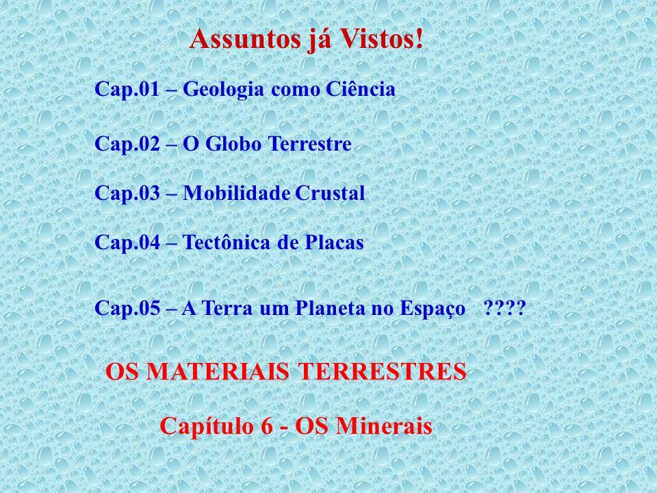 Assuntos já Vistos! OS MATERIAIS TERRESTRES Capítulo 6 - OS Minerais