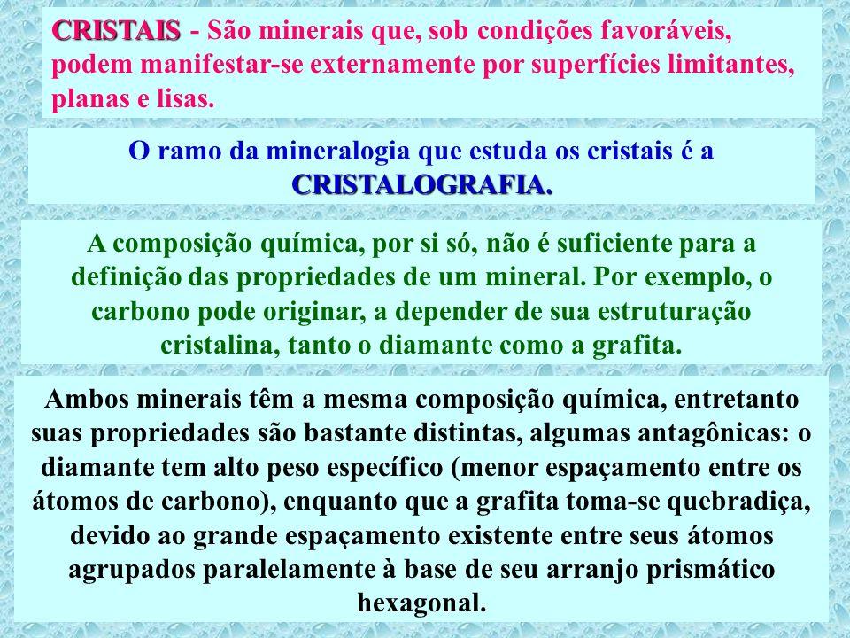 O ramo da mineralogia que estuda os cristais é a CRISTALOGRAFIA.