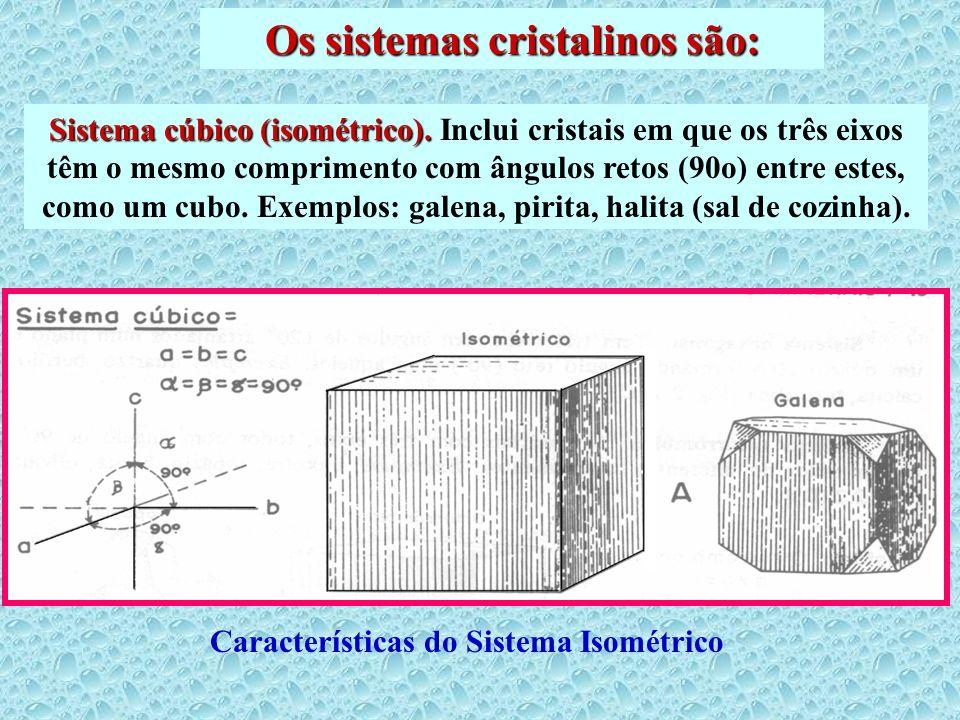 Os sistemas cristalinos são: