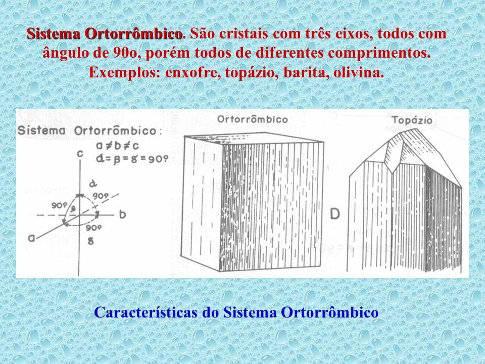 Sistema Ortorrômbico. São cristais com três eixos, todos com ângulo de 90o, porém todos de diferentes comprimentos. Exemplos: enxofre, topázio, barita, olivina.