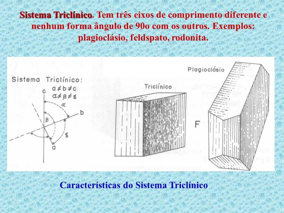 Sistema Triclínico. Tem três eixos de comprimento diferente e nenhum forma ângulo de 90o com os outros. Exemplos: plagioclásio, feldspato, rodonita.