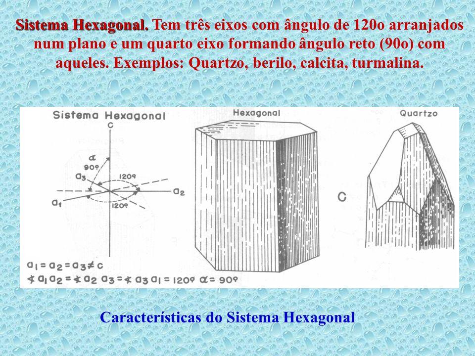 Sistema Hexagonal. Tem três eixos com ângulo de 120o arranjados num plano e um quarto eixo formando ângulo reto (90o) com aqueles. Exemplos: Quartzo, berilo, calcita, turmalina.