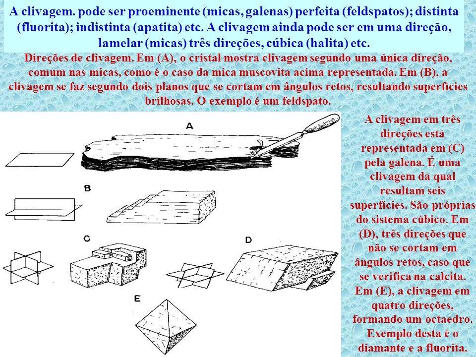 A clivagem. pode ser proeminente (micas, galenas) perfeita (feldspatos); distinta (fluorita); indistinta (apatita) etc. A clivagem ainda pode ser em uma direção, lamelar (micas) três direções, cúbica (halita) etc.