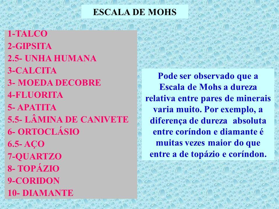 ESCALA DE MOHS1-TALCO. 2-GIPSITA. 2.5- UNHA HUMANA. 3-CALCITA. 3- MOEDA DECOBRE. 4-FLUORITA. 5- APATITA.