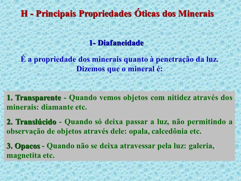 H - Principais Propriedades Óticas dos Minerais