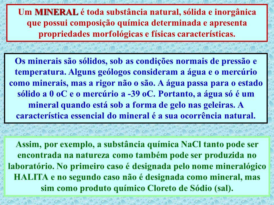 Um MINERAL é toda substância natural, sólida e inorgânica que possui composição química determinada e apresenta propriedades morfológicas e físicas características.
