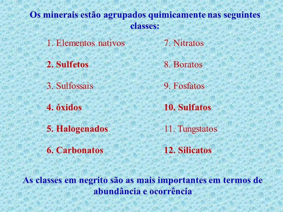 Os minerais estão agrupados quimicamente nas seguintes classes: