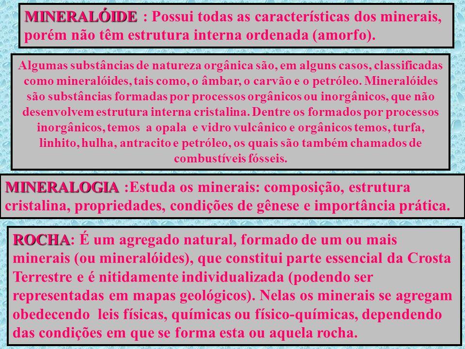 MINERALÓIDE : Possui todas as características dos minerais, porém não têm estrutura interna ordenada (amorfo).