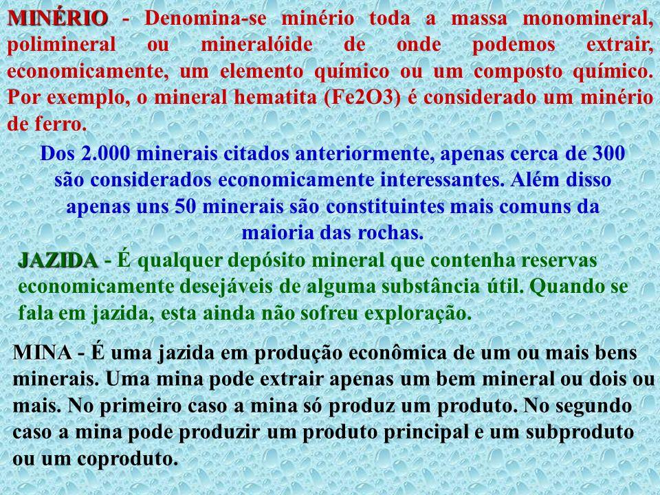 MINÉRIO - Denomina-se minério toda a massa monomineral, polimineral ou mineralóide de onde podemos extrair, economicamente, um elemento químico ou um composto químico. Por exemplo, o mineral hematita (Fe2O3) é considerado um minério de ferro.