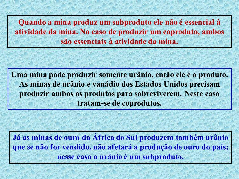 Quando a mina produz um subproduto ele não é essencial à atividade da mina. No caso de produzir um coproduto, ambos são essenciais à atividade da mina.