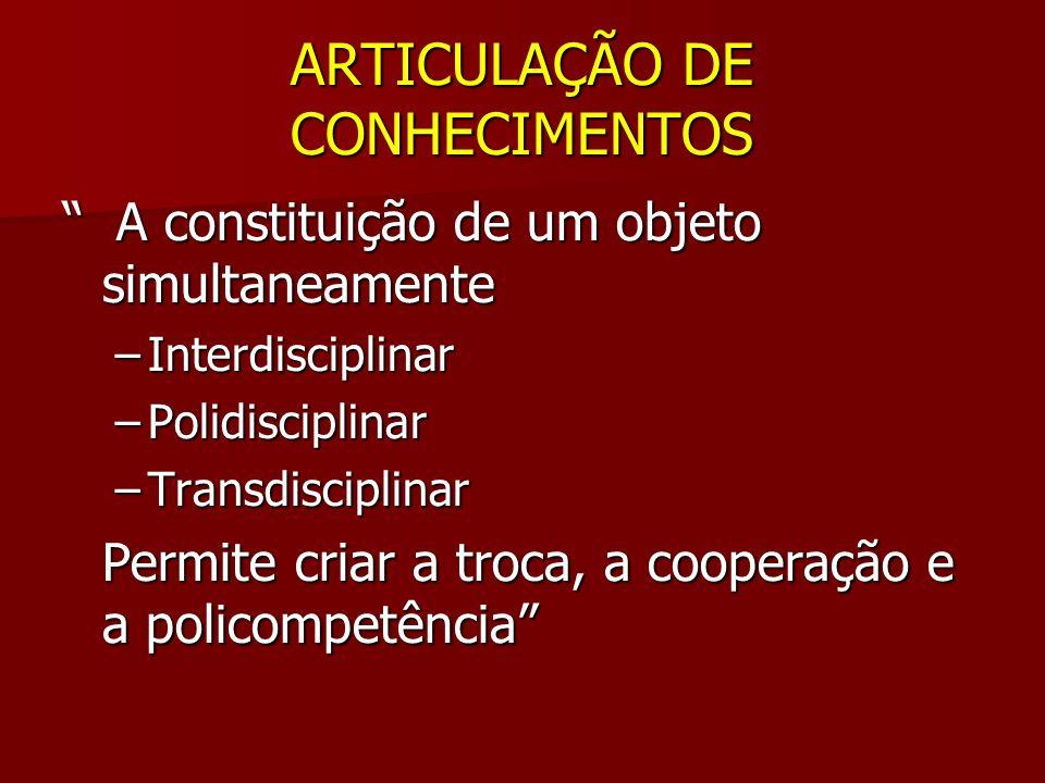 ARTICULAÇÃO DE CONHECIMENTOS