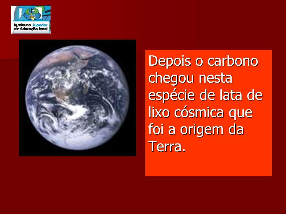 Depois o carbono chegou nesta espécie de lata de lixo cósmica que foi a origem da Terra.