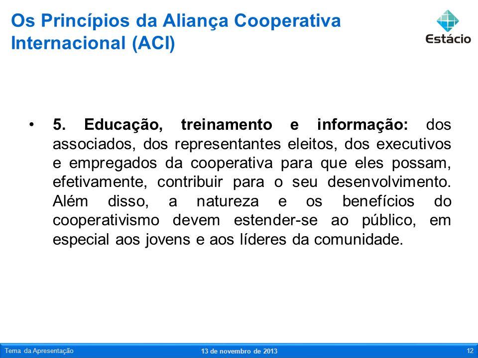 Os Princípios da Aliança Cooperativa Internacional (ACI)