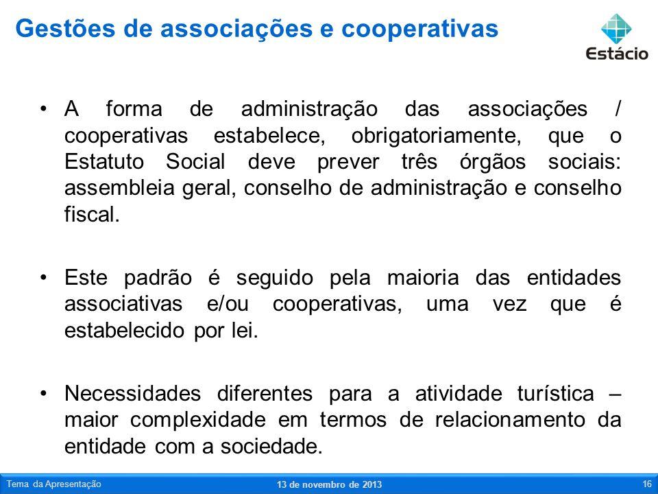 Gestões de associações e cooperativas
