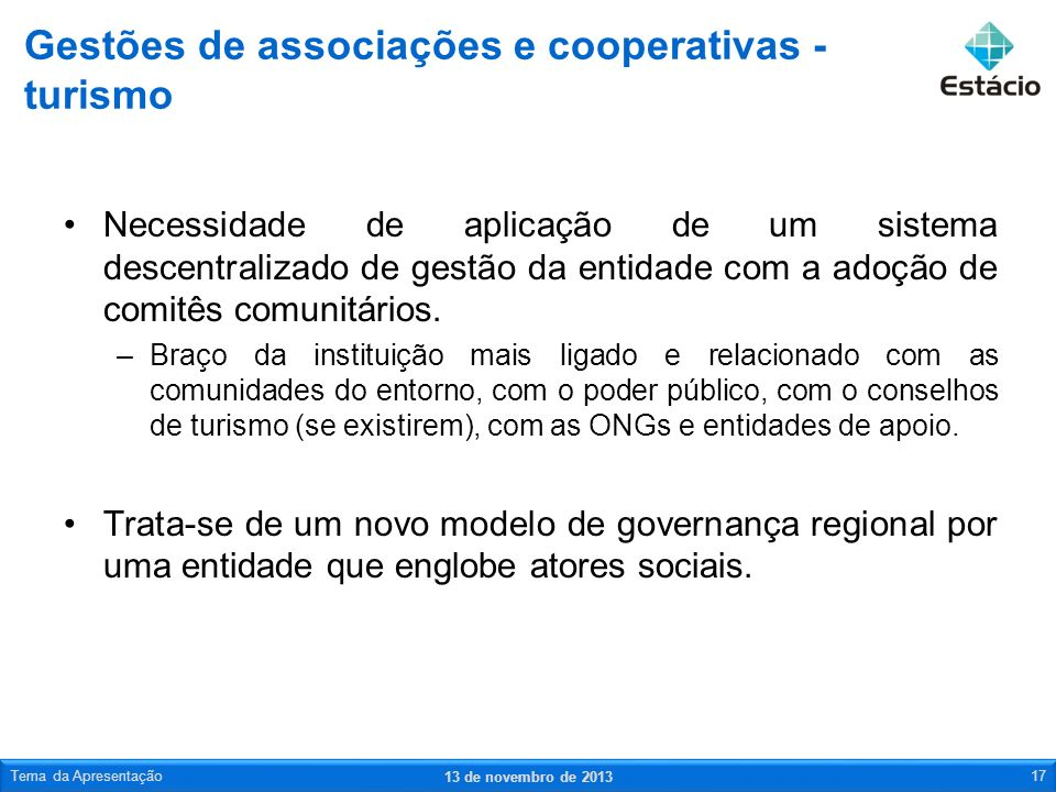 Gestões de associações e cooperativas - turismo