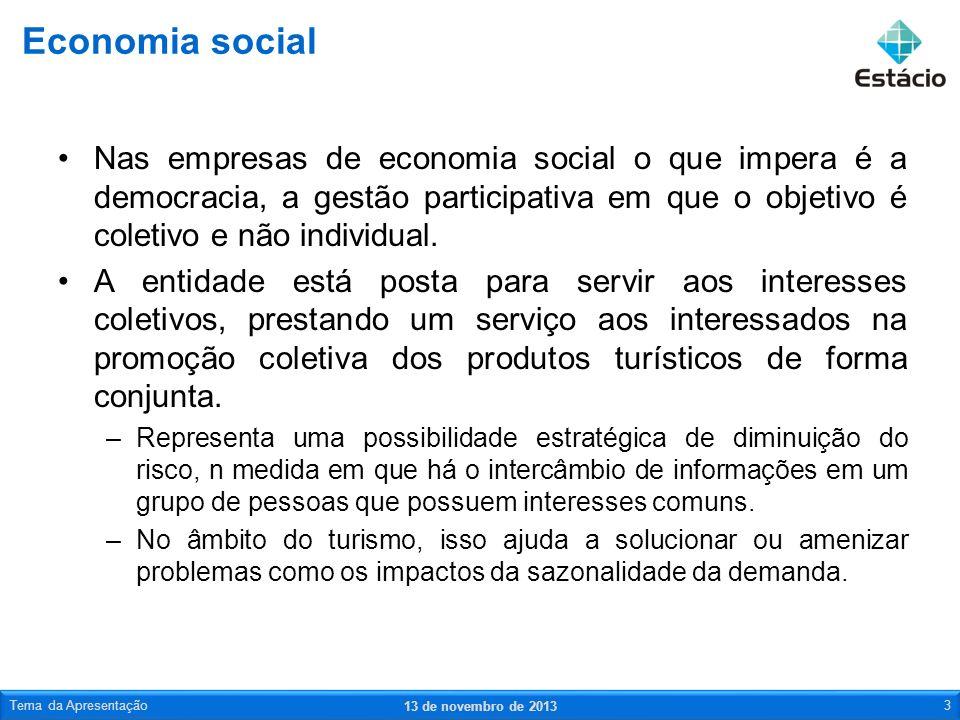Economia social Nas empresas de economia social o que impera é a democracia, a gestão participativa em que o objetivo é coletivo e não individual.